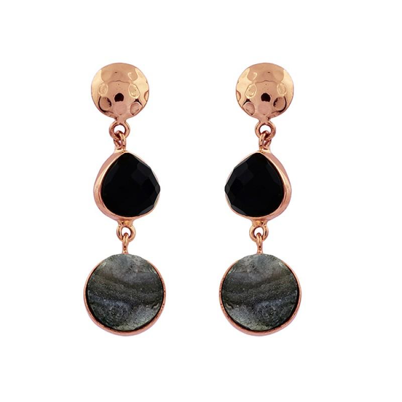 Black Onyx Druzy Gemstone 925 Sterling Silver Gold Plated Stud Dangle Earrings