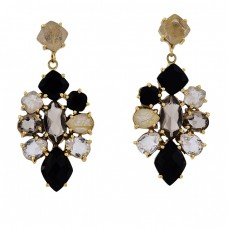 925 Sterling Silver Square Pear Marquise Shape Gemstone Gold Plated Earrings