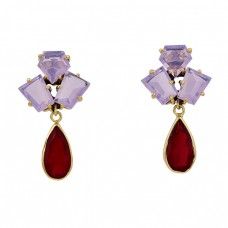 925 Sterling Silver Moonstone Ruby Gemstone Gold Plated Stud Dangle Earrings