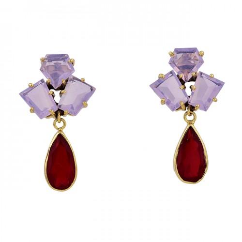 925 Sterling Silver Moonstone Ruby Gemstone Gold Plated Stud Dangle Earrings