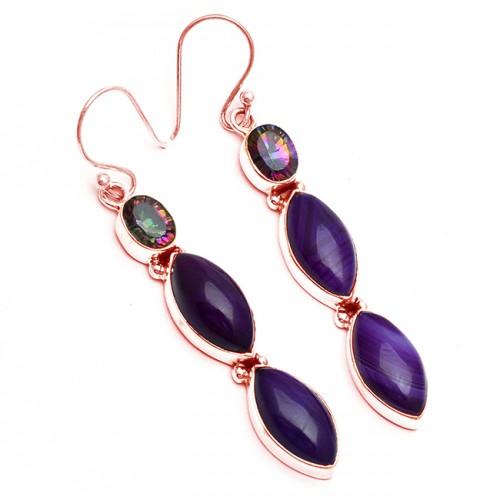 Purple Banded Agate Mystic Topaz Gemstone 925 Sterling Silver Dangle Earrings