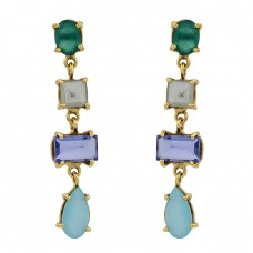 Crystal Onyx Tanzanite Chalcedony Gemstone 925 Silver Gold Plated Earrings