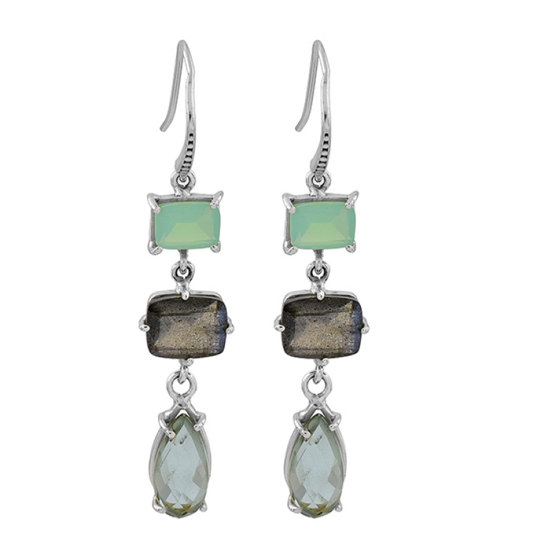 Green Amethyst Labradorite Moonstone 925 Sterling Silver Gold Plated Earrings