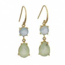 Aqua Prehnite Color Chalcedony Gemstone 925 Silver Gold Plated Earrings