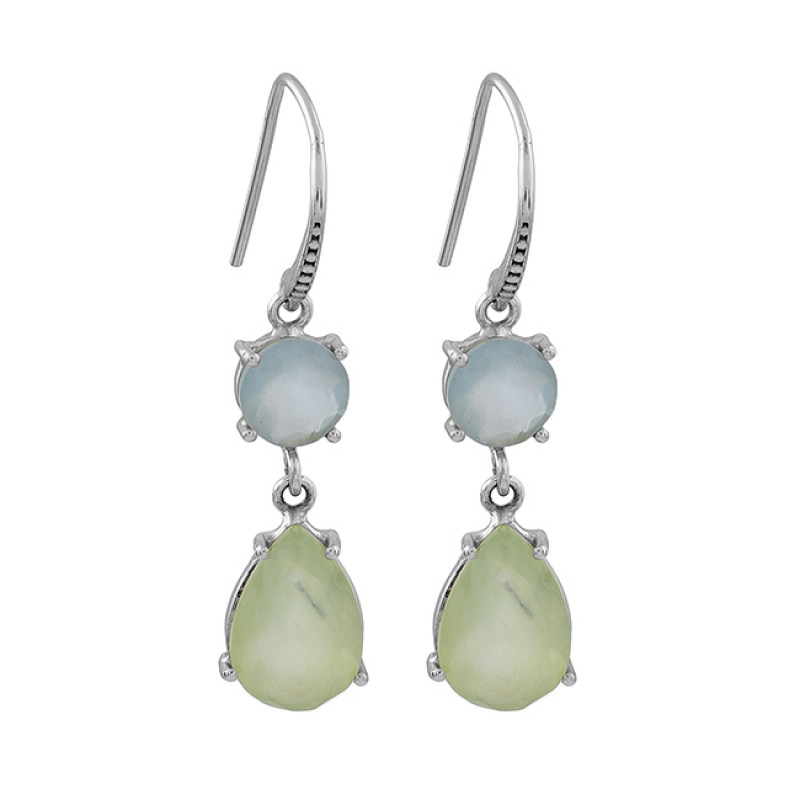 Aqua Prehnite Color Chalcedony Gemstone 925 Silver Gold Plated Earrings