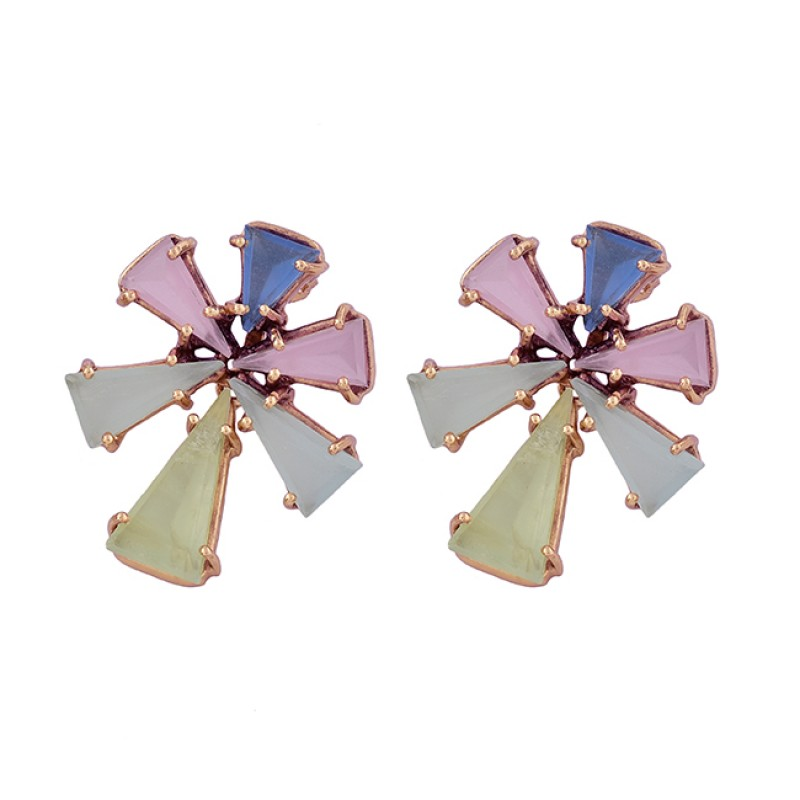 Blue Rose Aqua Prehnite Color Chalcedony Gemstone Gold Plated Stud Earrings