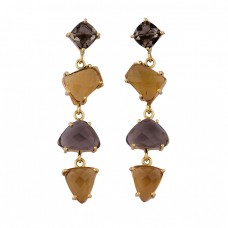 Smoky Quartz Citrine Gemstone 925 Sterling Silver Gold Plated Stud Earrings