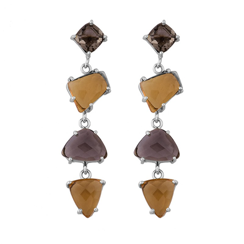 Smoky Quartz Citrine Gemstone 925 Sterling Silver Gold Plated Stud Earrings