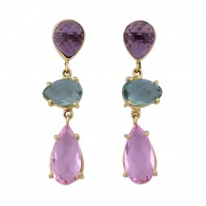 Pink Quartz Green Amethyst Gemstone 925 Sterling Silver Gold Plated Earrings