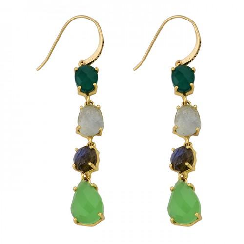 Onyx Aquamarine Labradorite Chalcedony Gemstone Gold Plated Earrings