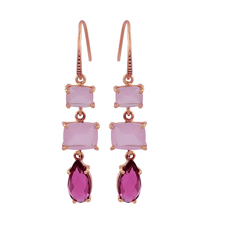 Rose Chalcedony Pink Tourmaline Gemstone 925 Silver Gold Plated Earrings