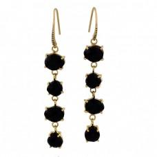 Oval Heart Shape Black Onyx Gemstone 925 Sterling Silver Gold Plated Earrings