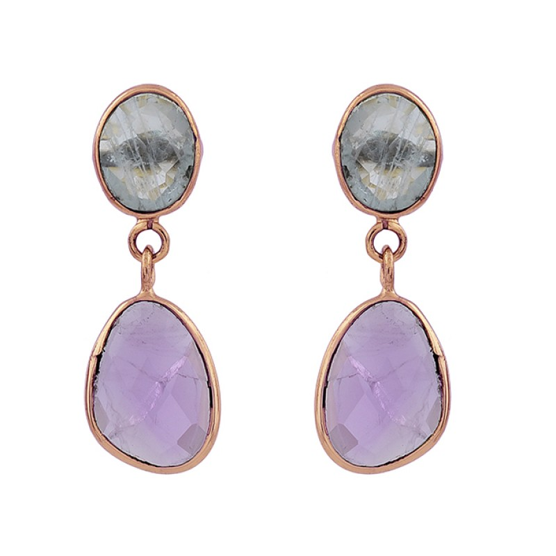 Aquamarine Amethyst Gemstone 925 Sterling Silver Gold Plated Stud Earrings