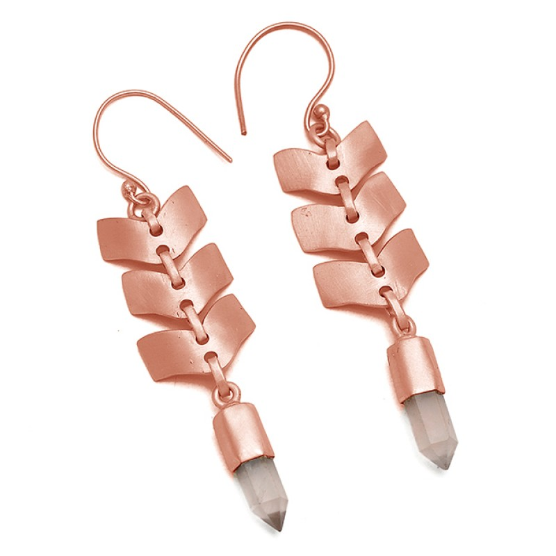 Step Cut Pencil Shape Rose Quartz Gemstone 925 Sterling Silver Gold Plated Earrings