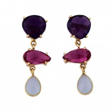 Amethyst Pink Quartz Chalcedony Gemstone 925 Silver Gold Plated Earrings