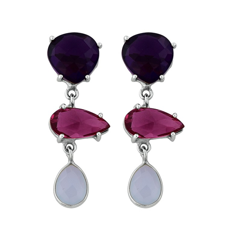 Amethyst Pink Quartz Chalcedony Gemstone 925 Silver Gold Plated Earrings