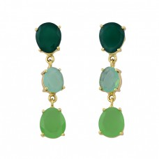 Green Onyx Moonstone Chalcedony Gemstone Gold Plated Stud Earrings