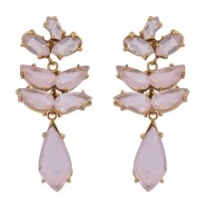 925 Sterling Silver Rose Quartz Gemstone Gold Plated Prong Setting Earrings