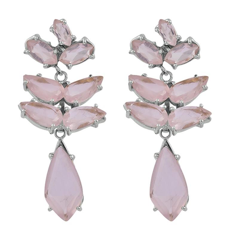 925 Sterling Silver Rose Quartz Gemstone Gold Plated Prong Setting Earrings