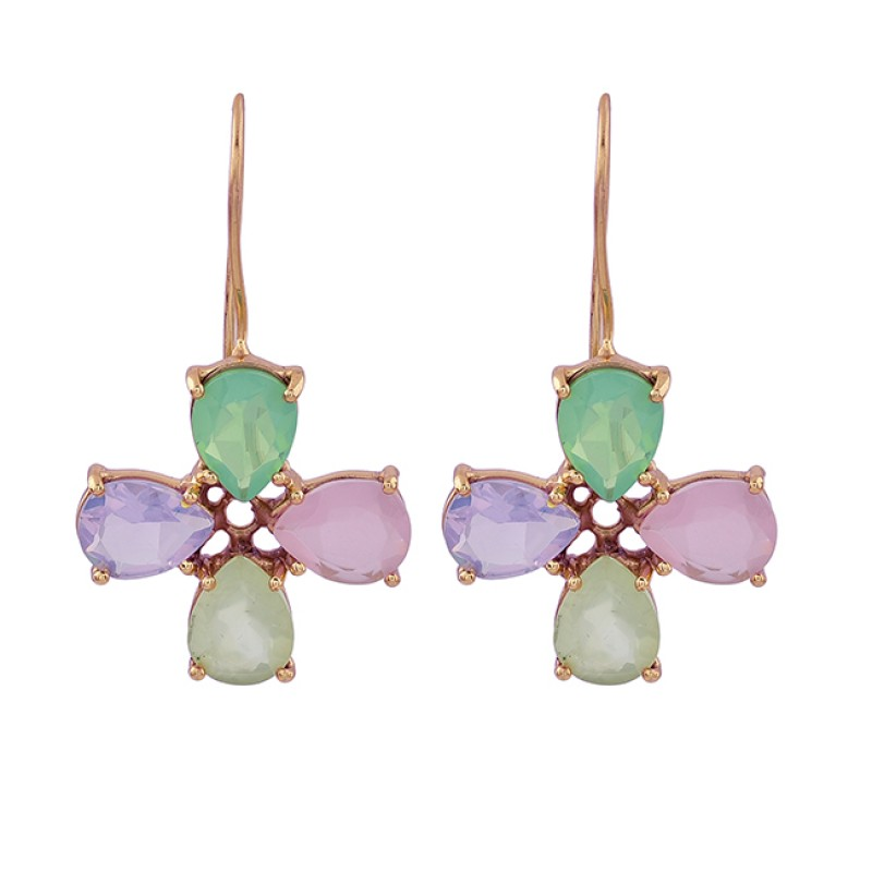 925 Sterling Silver Moonstone Chalcedony Gemstone Gold Plated Earrings