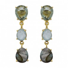 Green Amethyst Blue Topaz Labradorite Gemstone Gold Plated Stud Earrings