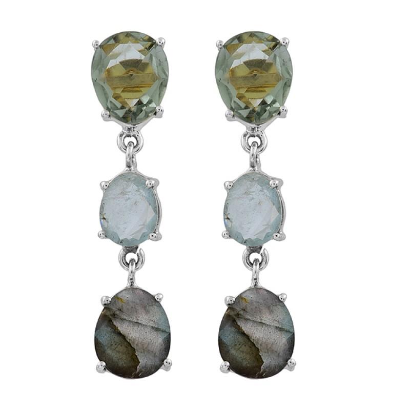 Green Amethyst Blue Topaz Labradorite Gemstone Gold Plated Stud Earrings