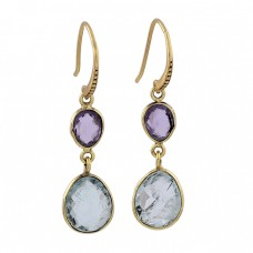925 Sterling Silver Amethyst Aquamarine Gemstone Gold Plated Dangle Earrings
