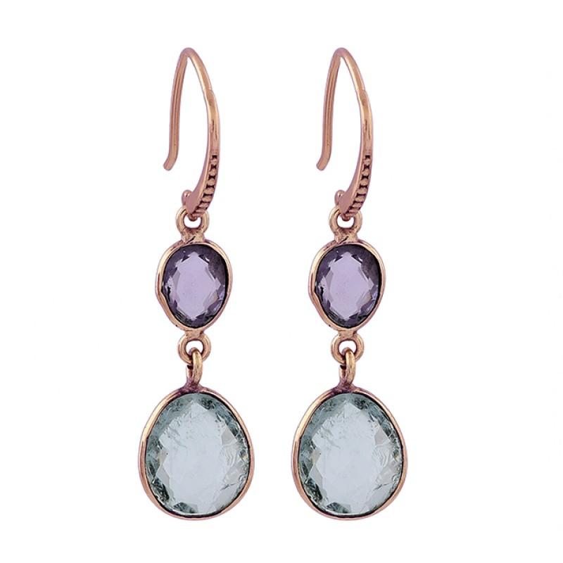 925 Sterling Silver Amethyst Aquamarine Gemstone Gold Plated Dangle Earrings