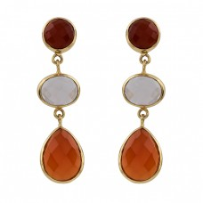 Red Onyx Smoky Quartz Carnelian Gemstone 925 Silver Gold Plated Stud Earrings