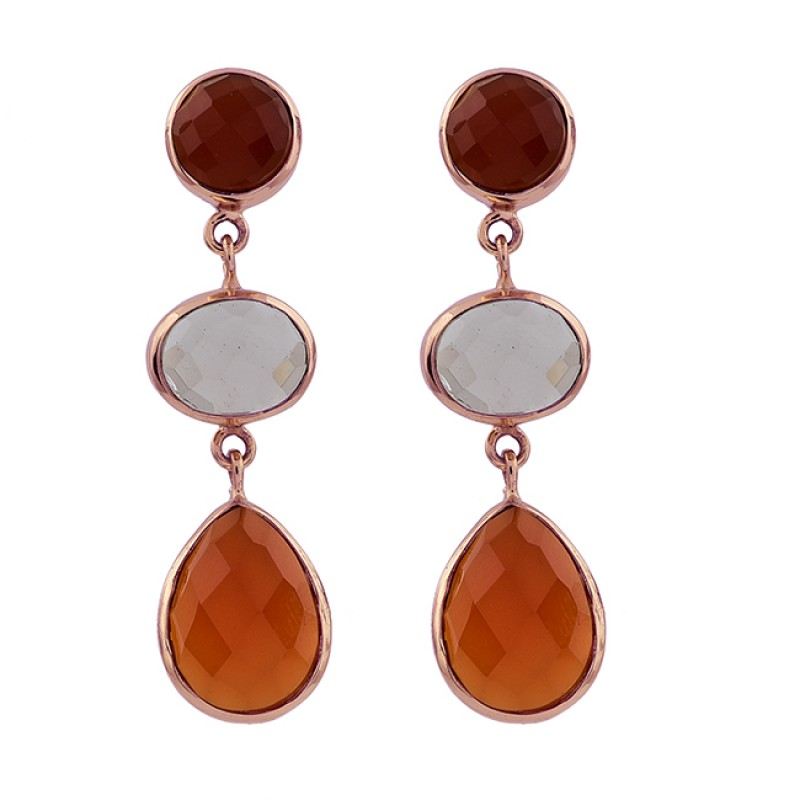 Red Onyx Smoky Quartz Carnelian Gemstone 925 Silver Gold Plated Stud Earrings