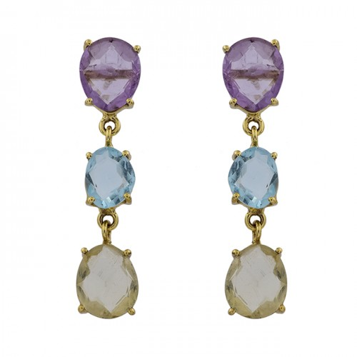 Amethyst Blue Topaz chalcedony Gemstone 925 Silver Gold Plated Stud Earrings