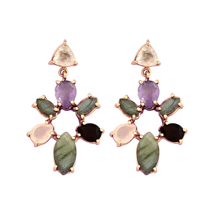 925 Sterling Silver Pear Marquise Triangle Shape Gemstone Gold Plated Earrings