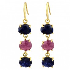 Prong Setting Sapphire Ruby Gemstone 925 Sterling Silver Gold Plated Earrings