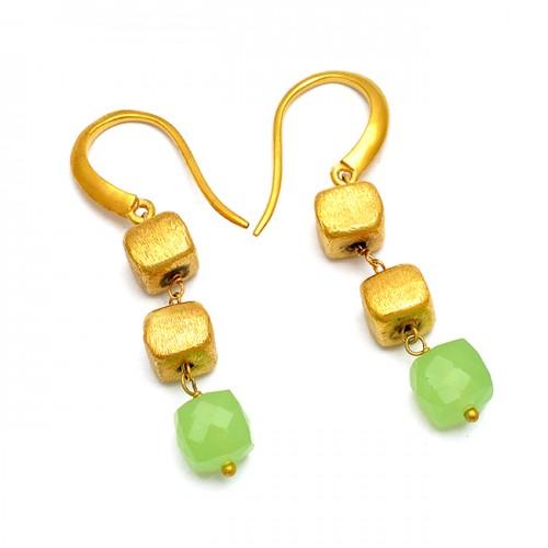 Cube Shape Briolette Chalcedony Gemstone 925 Sterling Silver Gold Plated Dangle Earrings