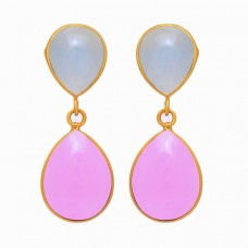 925 Sterling Silver Aqua Rose Color Chalcedony Gemstone Gold Plated Earrings