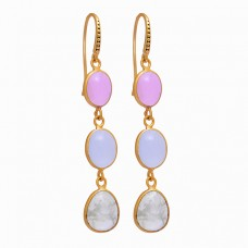 Cabochon Oval Shape Gemstone 925 Sterling Silver Gold Plated Dangle Earrings
