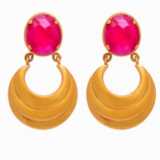 Oval Shape Ruby Gemstone 925 Sterling Silver Gold Plated Dangle Stud Earrings