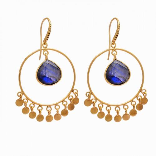 Labradorite Heart Shape Gemstone 925 Sterling Silver Gold Plated Earrings