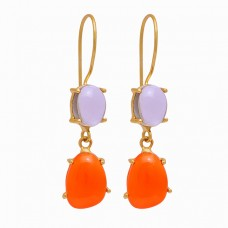 Smoky Quartz Carnelian Oval Shape Gemstone 925 Silver Gold Plated Earrings