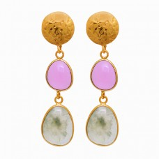 Rose Chalcedony Aquamarine Gemstone 925 Sterling Silver Gold Plated Earrings