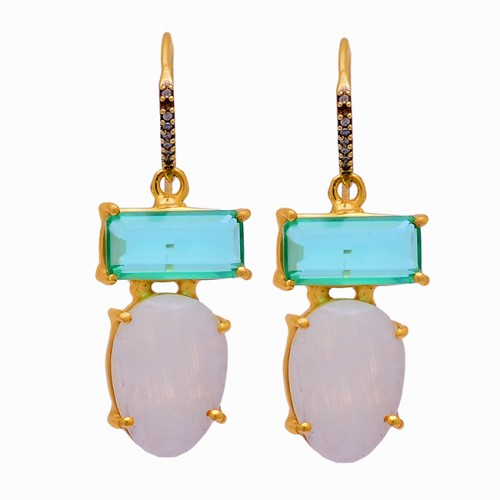 Apatite Rainbow Moonstone 925 Sterling Silver Gold Plated Dangle Earrings