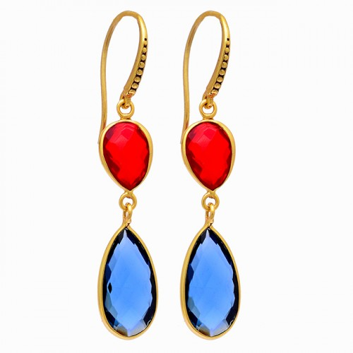 Pear Shape Blue Fanta Color Quartz Gemstone 925 Silver Gold Plated Earrings