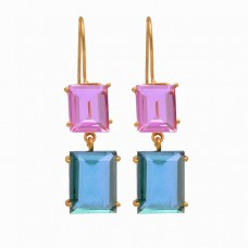 Rectangle Shape Pink Kunznite Blue Quartz 925 Silver Gold Plated Stud Earrings