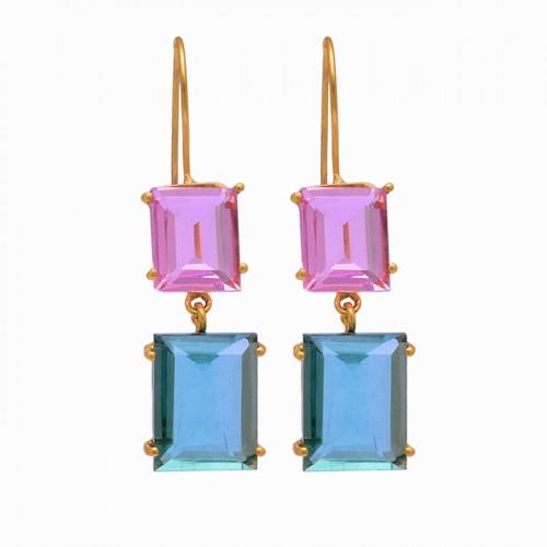 Rectangle Shape Pink Kunznite Blue Quartz 925 Silver Gold Plated Stud Earrings