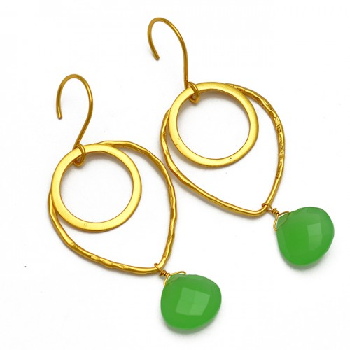 925 Sterling Silver Handmade Heart Shape Chalcedony Gemstone Gold Plated Earrings