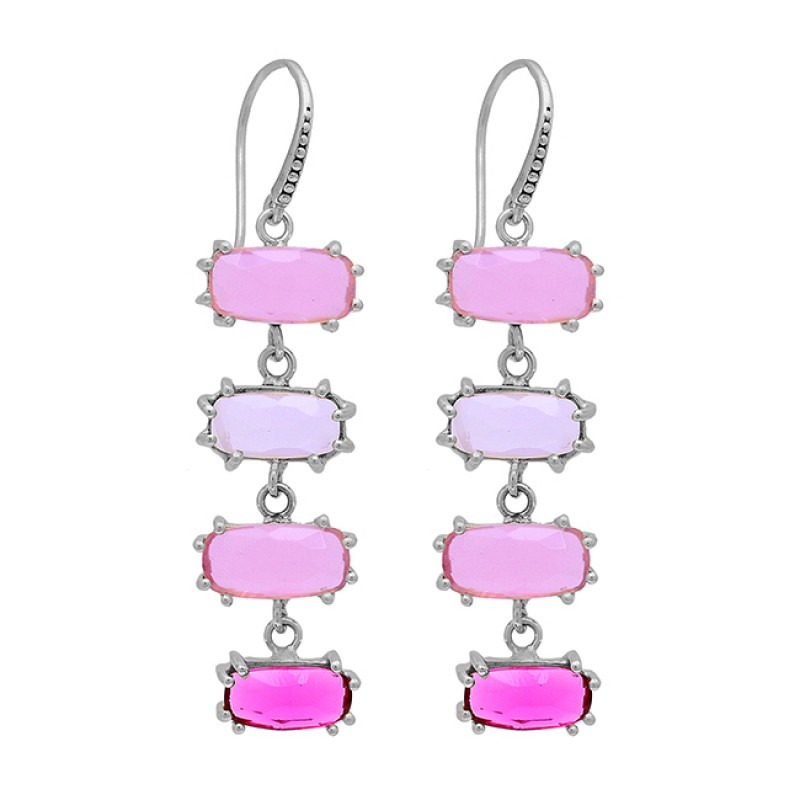Rectangle Shape Chalcedony Pink Quartz Crystal Gold Plated Dangle Earrings
