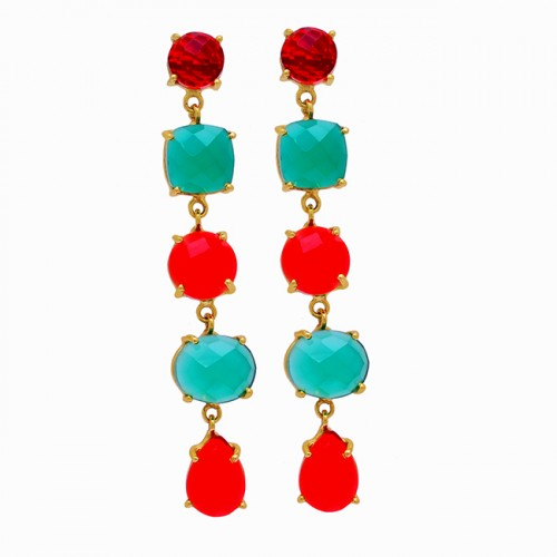Prong Setting Ruby Onyx Gemstone 925 Sterling Silver Gold Plated Stud Earrings