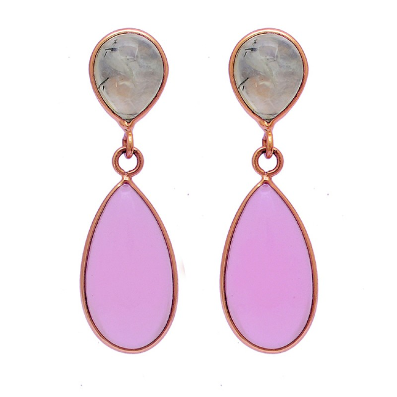 Prehnite Rose Color Chalcedony Gemstone 925 Silver Gold Plated Stud Earrings