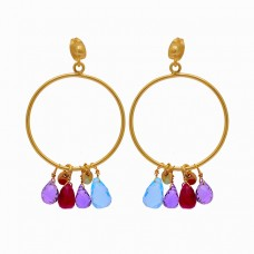 Pear Drops Shape Multi Color Gemstone 925 Silver Gold Plated Stud Earrings