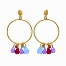 Pear Drops Shape Multi Color Gemstone 925 Silver Gold Plated Stud Earrings